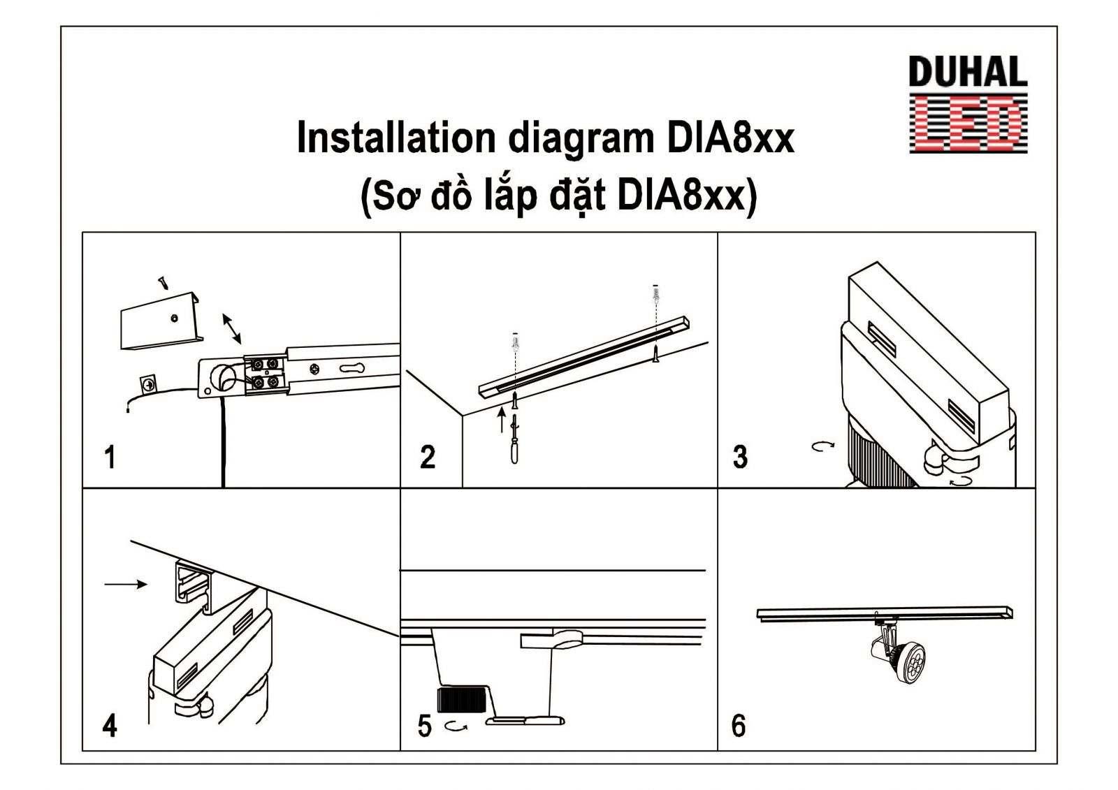 Hướng dẫn lắp đặt đèn led rọi thanh ray DIA-A 4-01