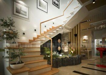 Tranh treo tường dọc theo hướng đi lên của cầu thang