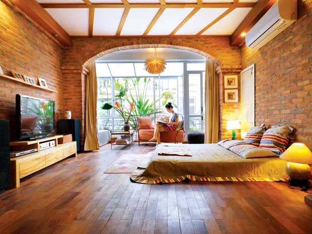 Toàn bộ tầng 3 là không gian mở với nội thất mộc mạc, gần gũi.