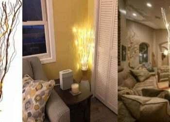 Cành cây chiếu sáng bằng đèn led trang trí nhà